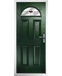 The Derby Composite Door in Green with Red Crystal Bohemia