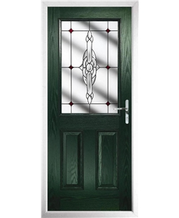 The Farnborough Composite Door in Green with Red Crystal Bohemia