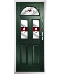 The Glasgow Composite Door in Green with Red Crystal Bohemia
