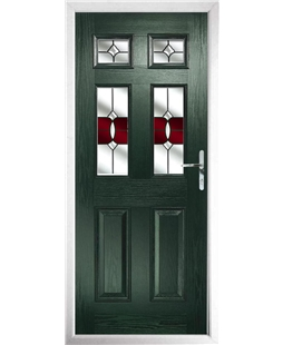 The Oxford Composite Door in Green with Red Crystal Bohemia