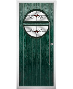 The Xenia Composite Door in Green with Red Crystal Bohemia