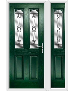 The Aberdeen Composite Door in Green with Crystal Bohemia and matching Side Panel