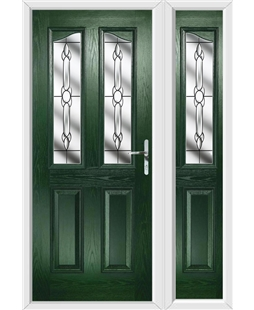 The Birmingham Composite Door in Green with Crystal Bohemia and matching Side Panel