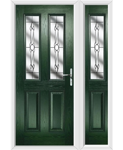 The Cardiff Composite Door in Green with Crystal Bohemia and matching Side Panel