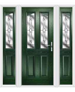 The Birmingham Composite Door in Green with Crystal Bohemia and matching Side Panels