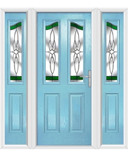The Birmingham Composite Door in Blue (Duck Egg) with Green Crystal Harmony and matching Side Panels