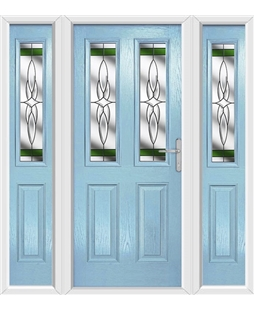 The Cardiff Composite Door in Blue (Duck Egg) with Green Crystal Harmony and matching Side Panels