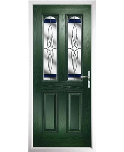 The Aberdeen Composite Door in Green with Blue Crystal Harmony