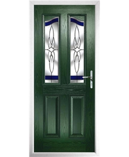 The Birmingham Composite Door in Green with Blue Crystal Harmony