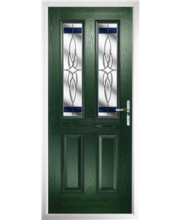 The Cardiff Composite Door in Green with Blue Crystal Harmony