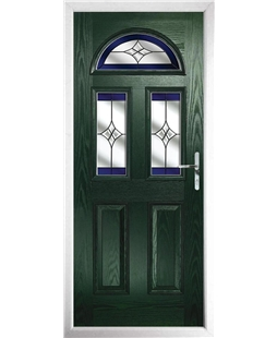 The Glasgow Composite Door in Green with Blue Crystal Harmony
