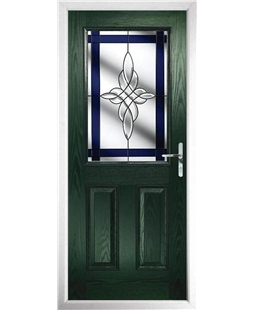The Farnborough Composite Door in Green with Blue Crystal Harmony