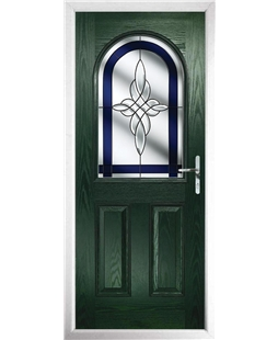 The Edinburgh Composite Door in Green with Blue Crystal Harmony