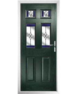 The Oxford Composite Door in Green with Blue Crystal Harmony