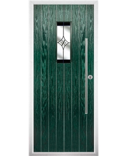 The Zetland Composite Door in Green with Black Crystal Harmony