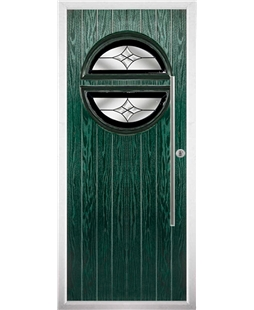 The Xenia Composite Door in Green with Black Crystal Harmony
