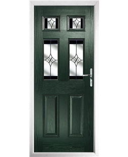 The Oxford Composite Door in Green with Black Crystal Harmony
