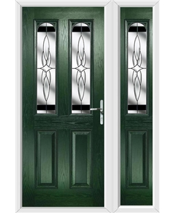 The Aberdeen Composite Door in Green with Black Crystal Harmony and matching Side Panel