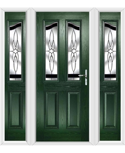 The Birmingham Composite Door in Green with Black Crystal Harmony and matching Side Panels