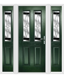 The Cardiff Composite Door in Green with Black Crystal Harmony and matching Side Panels