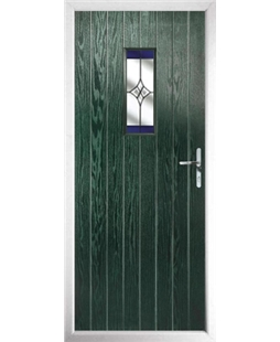 The Taunton Composite Door in Green with Blue Crystal Harmony