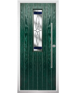 The York Composite Door in Green with Blue Crystal Harmony