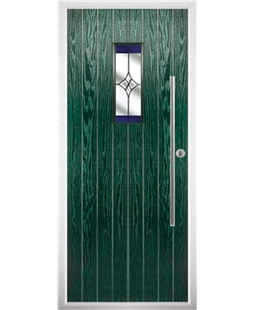 The Zetland Composite Door in Green with Blue Crystal Harmony