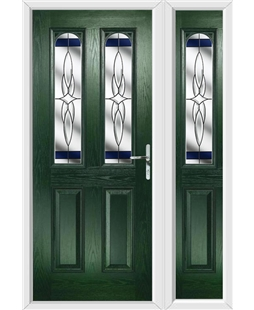 The Aberdeen Composite Door in Green with Blue Crystal Harmony and matching Side Panel