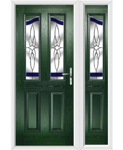The Birmingham Composite Door in Green with Blue Crystal Harmony and matching Side Panel