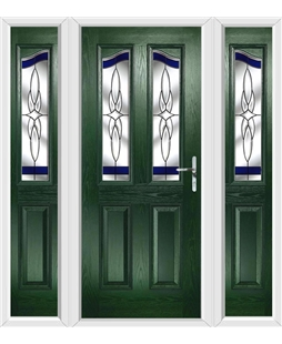The Birmingham Composite Door in Green with Blue Crystal Harmony and matching Side Panels