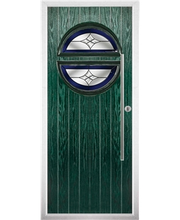 The Xenia Composite Door in Green with Blue Crystal Harmony