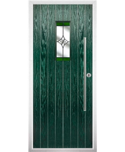 The Zetland Composite Door in Green with Green Crystal Harmony