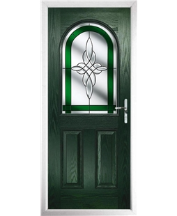 The Edinburgh Composite Door in Green with Green Crystal Harmony