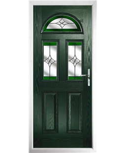 The Glasgow Composite Door in Green with Green Crystal Harmony