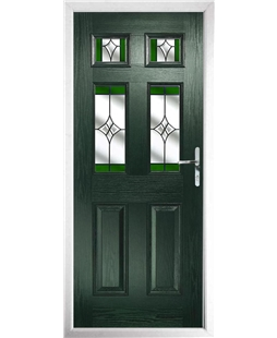 The Oxford Composite Door in Green with Green Crystal Harmony
