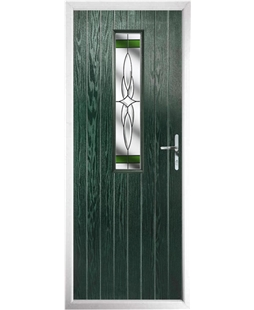 The Sheffield Composite Door in Green with Green Crystal Harmony