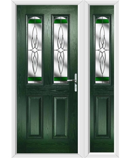 The Aberdeen Composite Door in Green with Green Crystal Harmony and matching Side Panel