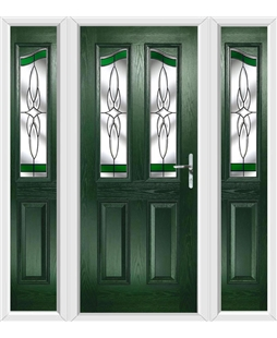 The Birmingham Composite Door in Green with Green Crystal Harmony and matching Side Panels