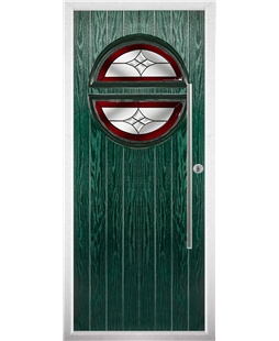 The Xenia Composite Door in Green with Red Crystal Harmony