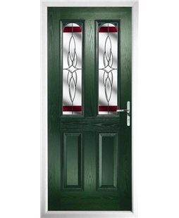 The Aberdeen Composite Door in Green with Red Crystal Harmony