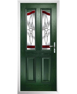The Birmingham Composite Door in Green with Red Crystal Harmony