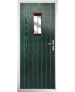 The Taunton Composite Door in Green with Red Crystal Harmony