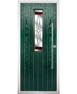 The York Composite Door in Green with Red Crystal Harmony