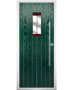 The Zetland Composite Door in Green with Red Crystal Harmony