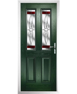 The Cardiff Composite Door in Green with Red Crystal Harmony