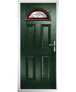 The Derby Composite Door in Green with Red Crystal Harmony