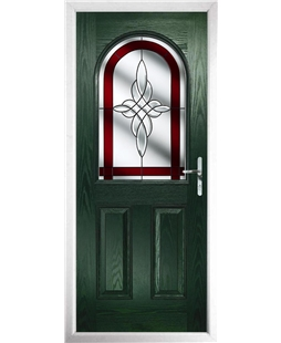 The Edinburgh Composite Door in Green with Red Crystal Harmony