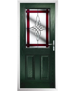 The Farnborough Composite Door in Green with Red Crystal Harmony