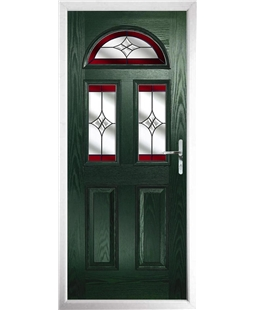 The Glasgow Composite Door in Green with Red Crystal Harmony