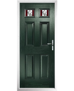 The Ipswich Composite Door in Green with Red Crystal Harmony